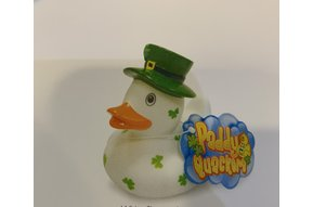 Toy: Rubber Duck, White Shamrock