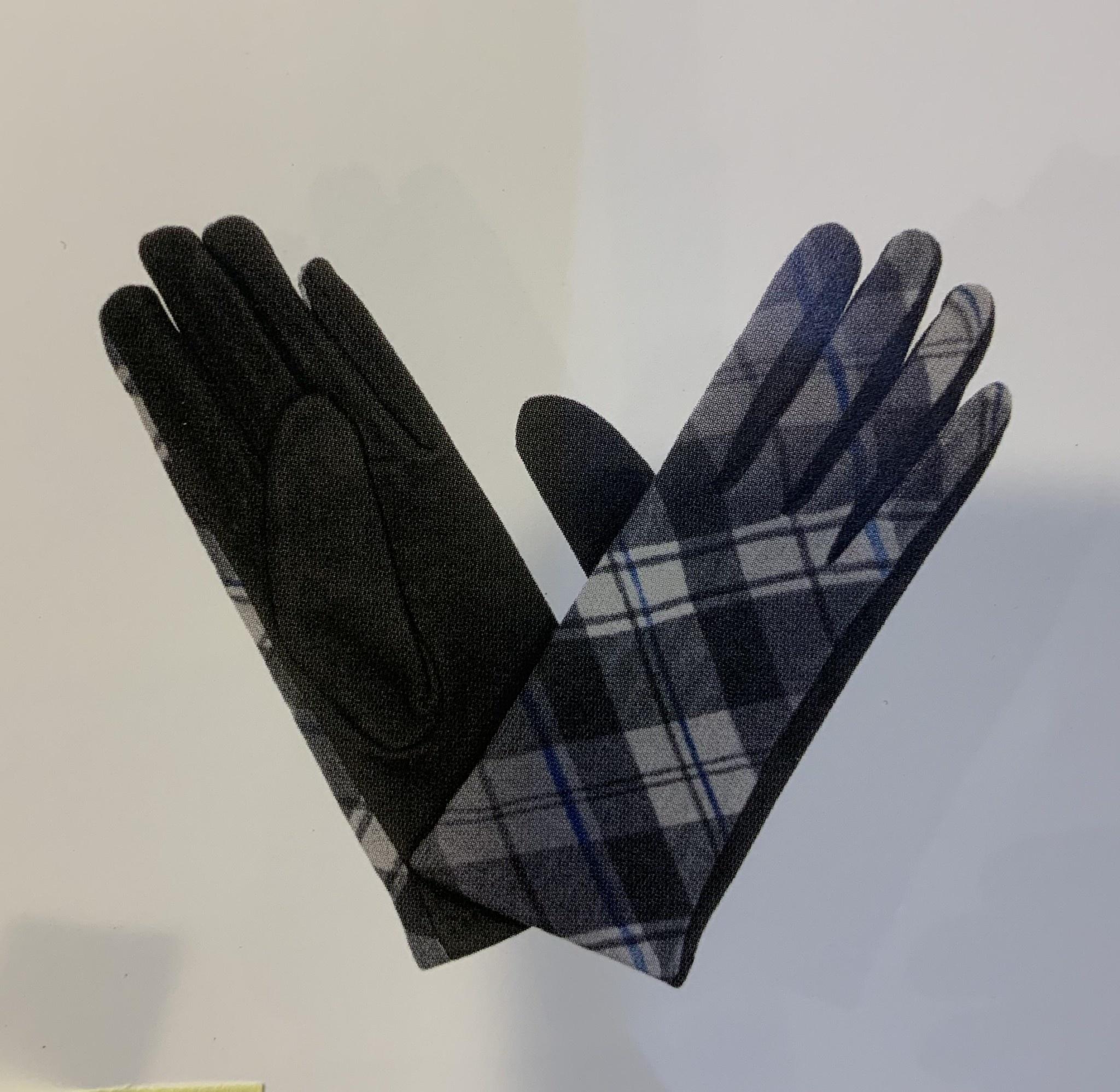 Gloves: Ladies Tartan Grey/Black/Cream - S