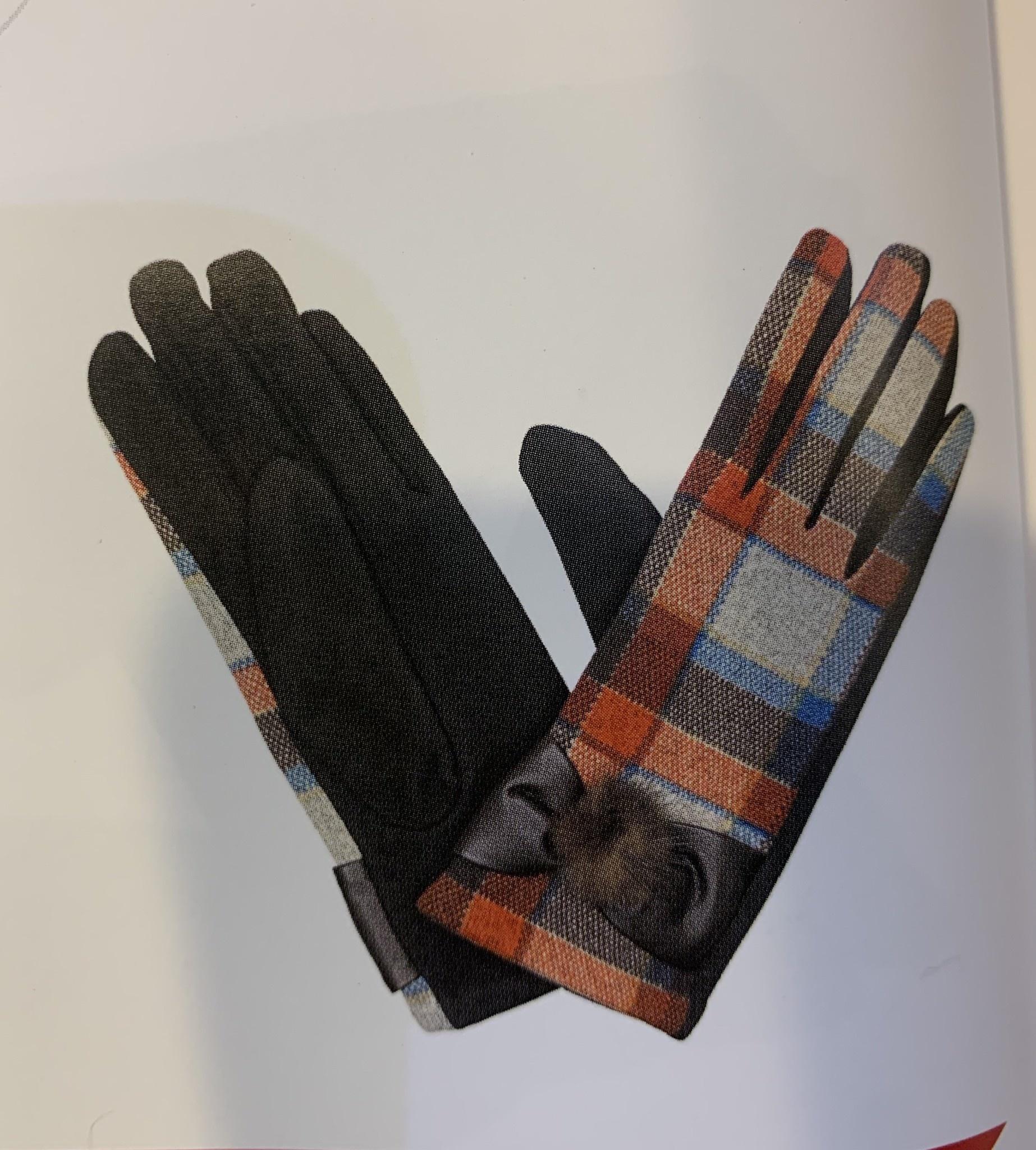 Gloves: Ladies Tartan Turq/Red/Brown - S