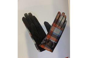 Gloves: Ladies Tartan Turq/Red/Brown - L