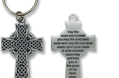 Keyring: Pewter Celtic Cross Irish Blessing