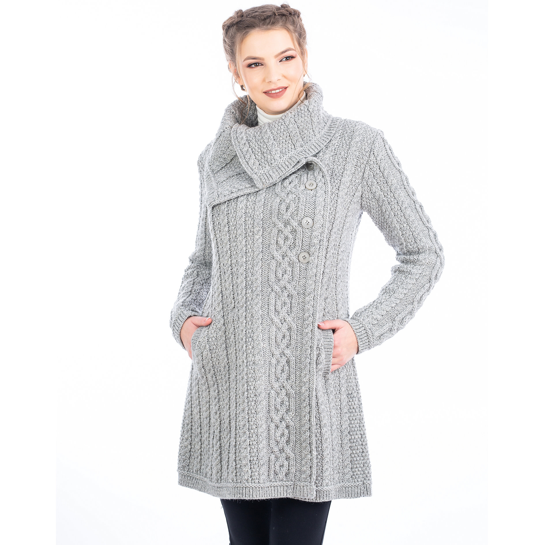 Sweater: Ladies 4 Button Gray
