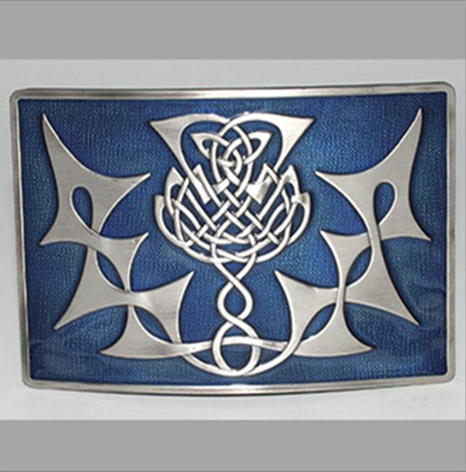 Glen Esk Buckle: Thistle Knot, Blue