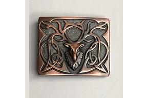 Buckle: Pewter Stag, Choc. Bronze