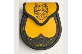 Sporran: Semi-Dress, Brogued,  Leather, Wolf, Yellow