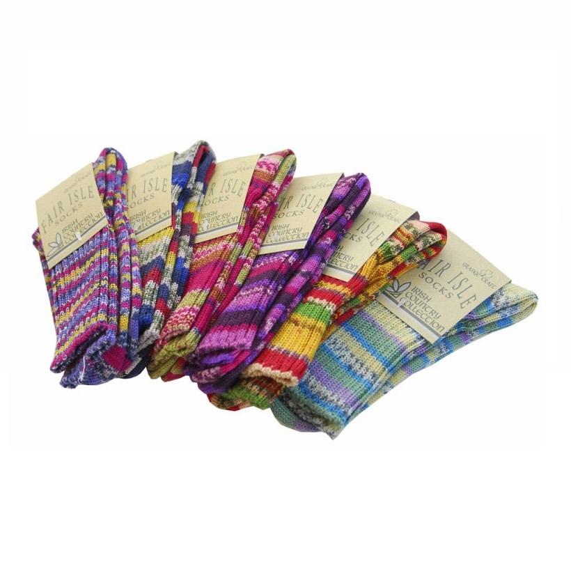 Fair Isle Sock: Knitted, Ladies 8-11, 75% Wool/Polyamide