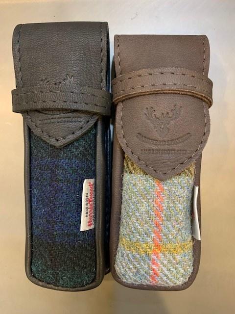 Glasses Case: Tartan/Leather