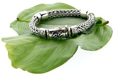 Bracelet: Sterling Dragon Weave Eternity, 3-Hinge