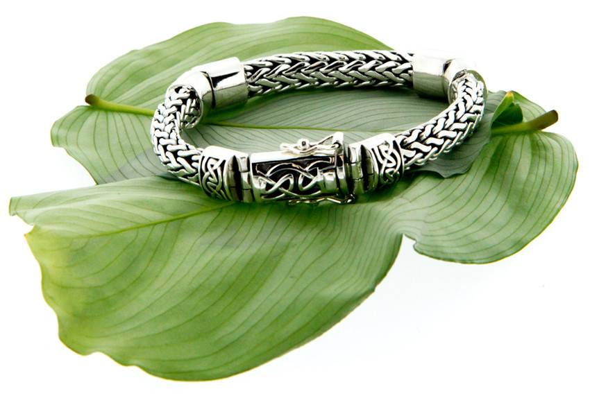 Keith Jack Bracelet: Sterling Dragon Weave Eternity, 3-Hinge