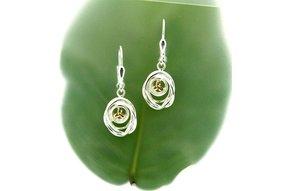 Earring: Sterling & 10k Celtic Cradle of Life, Drop
