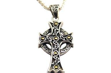 Pendant: Sterling & 18k Large Ornate Cross