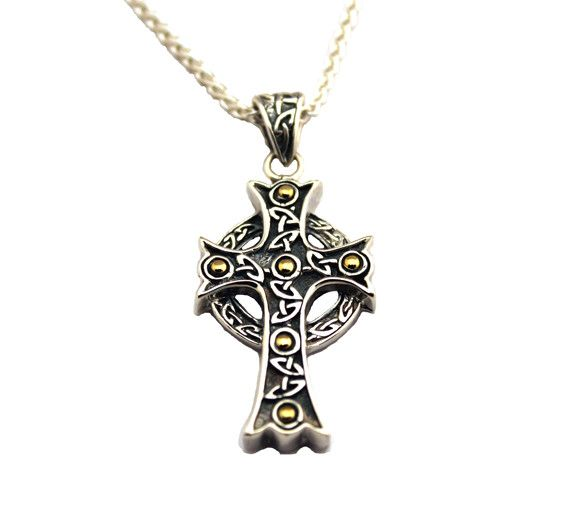 Keith Jack Pendant: Sterling & 18k Large Ornate Cross