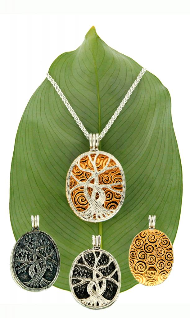 Keith Jack Pendant: Sterling & 22k Guilded Tree of Life, 4-way