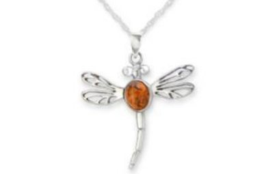 Pendant: SS Amber Dragonfly