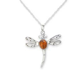 H & Y Pendant: SS Amber Dragonfly