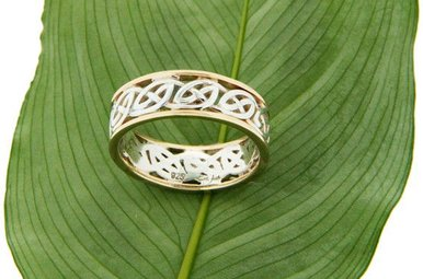"Ring: Ness - Sterling & 10k Lomand Knot with Rails, ""Window to the Soul"""