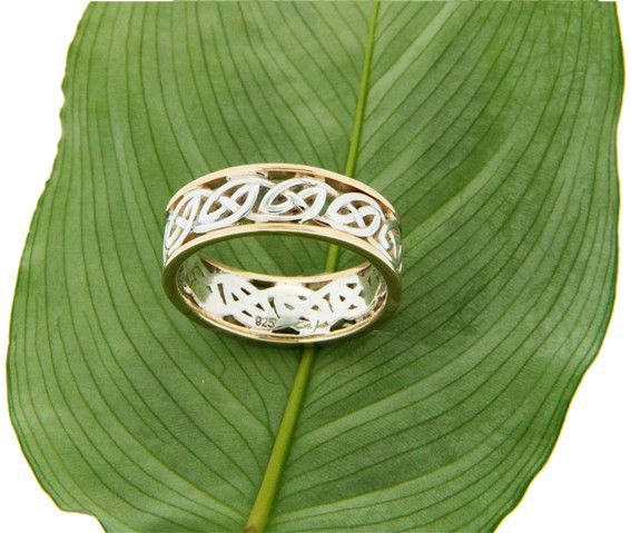 "Keith Jack Ring: Ness - Sterling & 10k Lomand Knot with Rails, ""Window to the Soul"""