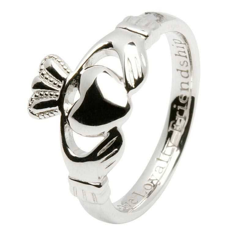 Shanore Ring: SS Claddagh. Ladies Insc