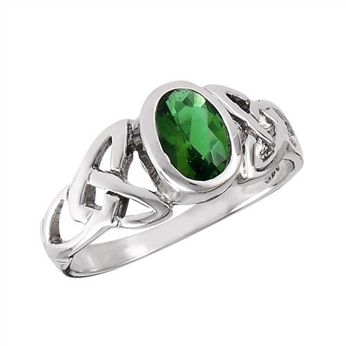 Ring: Green CZ, Oval, Trinity, SS
