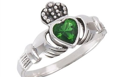 Ring: Claddagh, Green CZ Heart, SS