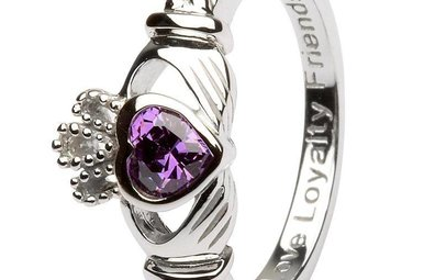 Ring: SS Claddagh Feb Amethyst Birthstone