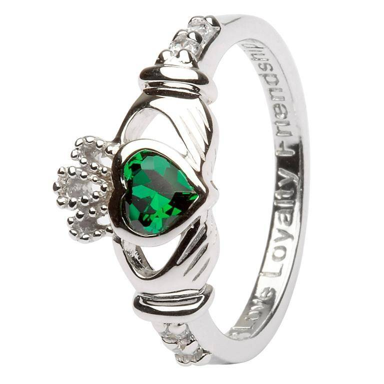Shanore Ring: SS Claddagh May Green CZ Birthstone