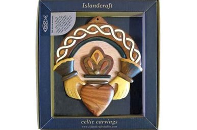 Plaque: Wood Carved Claddagh *