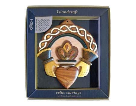 Clara Plaque: Wood Carved Claddagh *