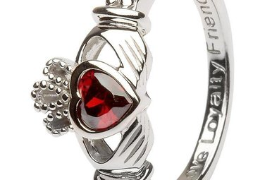 Ring: SS Claddagh Jan Garnet Birthstone