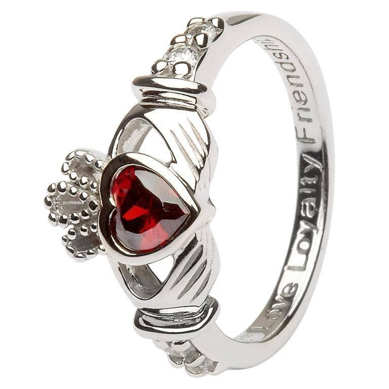 Shanore Ring: SS Claddagh Jan Garnet Birthstone