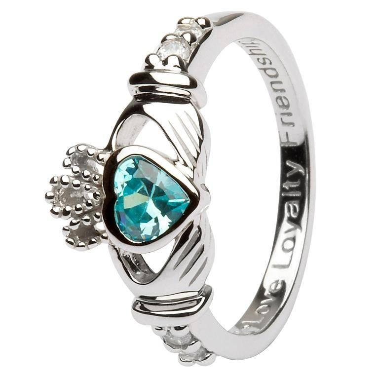 Shanore Ring: SS Claddagh Mar Aquamarine Birthstone