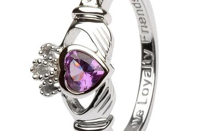 Ring: SS Claddagh Jun Alexandrite Birthstone