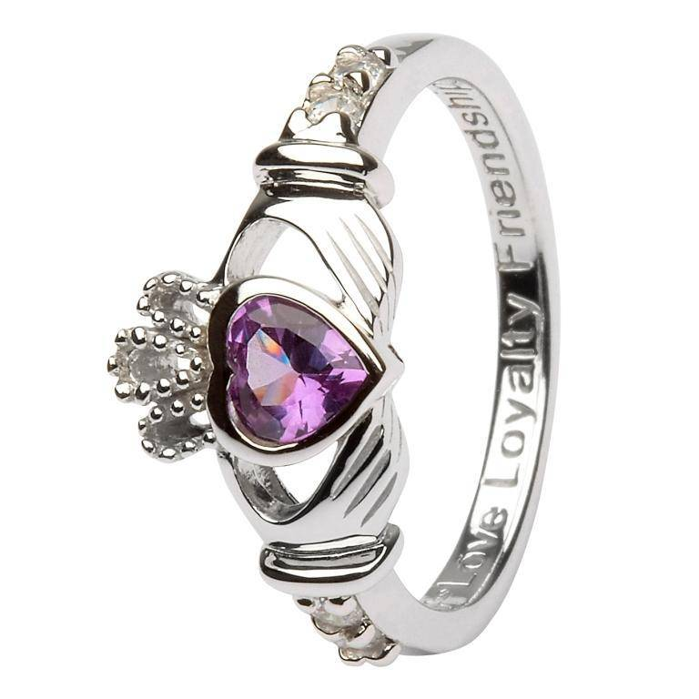 Shanore Ring: SS Claddagh Jun Alexandrite Birthstone