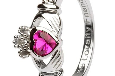 Ring: SS Claddagh Jul Ruby Birthstone