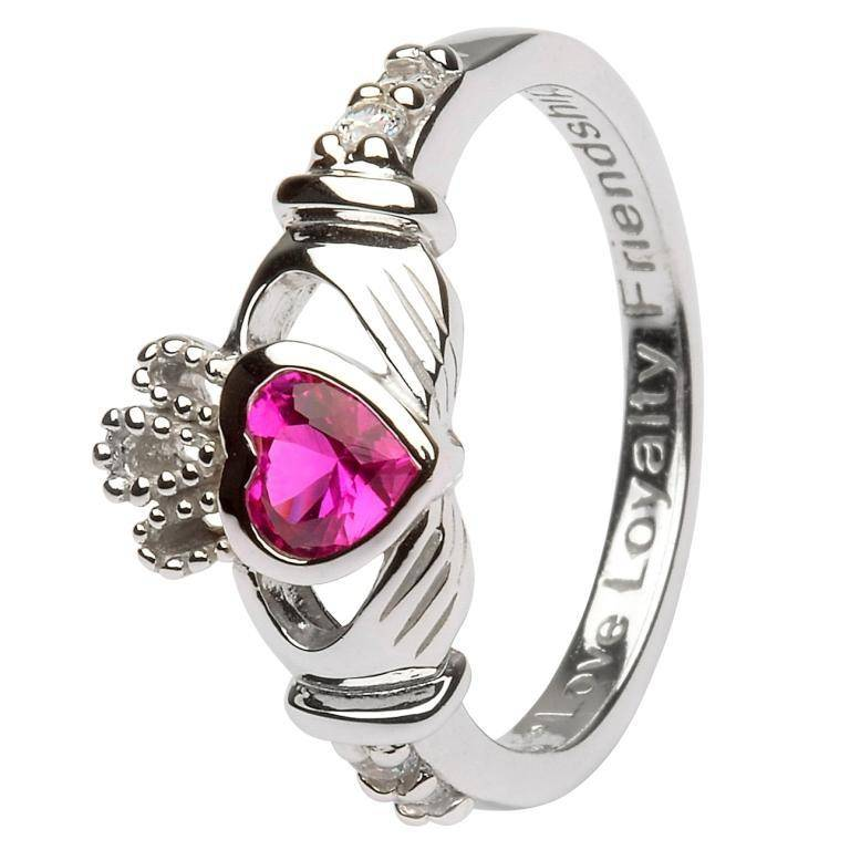 Shanore Ring: SS Claddagh Jul Ruby Birthstone