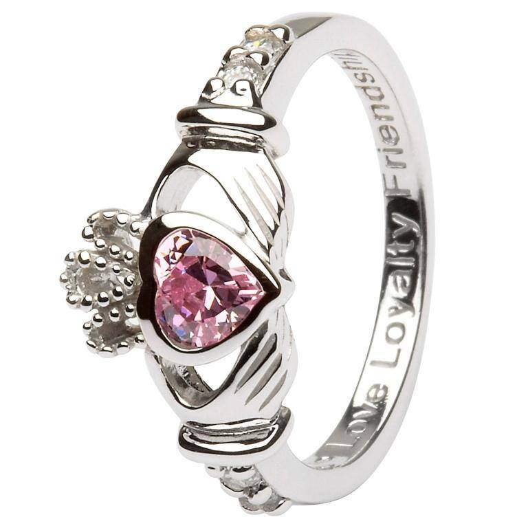 Shanore Ring: SS Claddagh Oct Pink CZ Birthstone