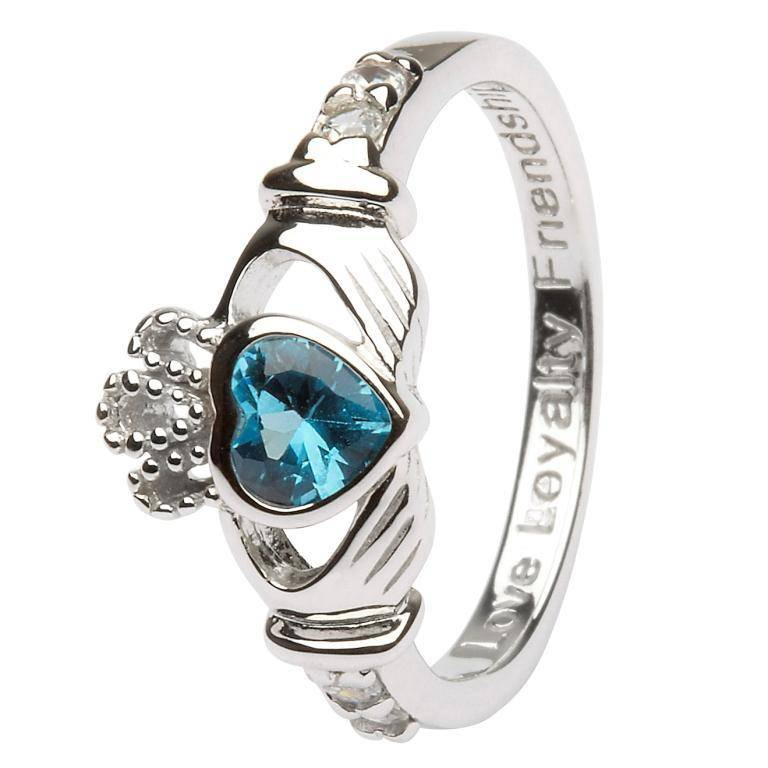 Shanore Ring: SS Claddagh Dec Blue Topaz Birthstone