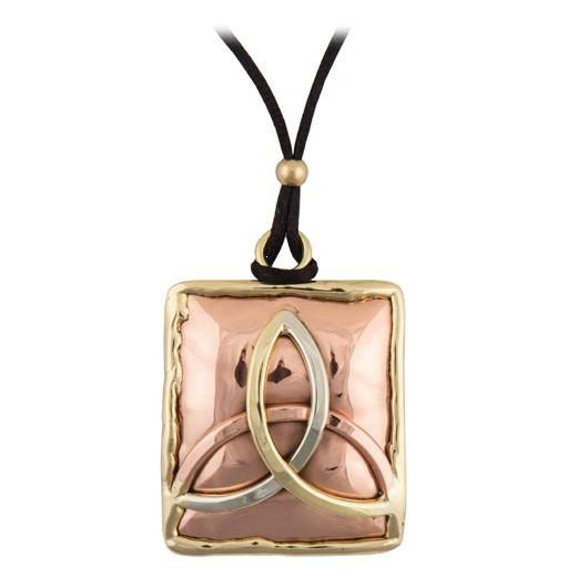 Pendant: Tri-tone Triquetra, Brass & Copper