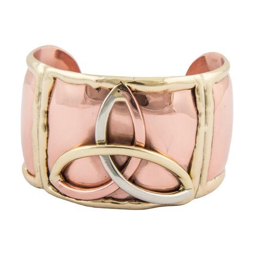 Bracelet: Tri-tone Trinity Cuff, Brass & Copper