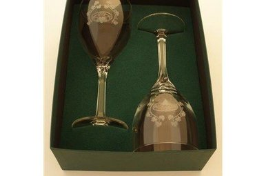 Glass: Pair 14 oz. Goblet/Claddagh Etched