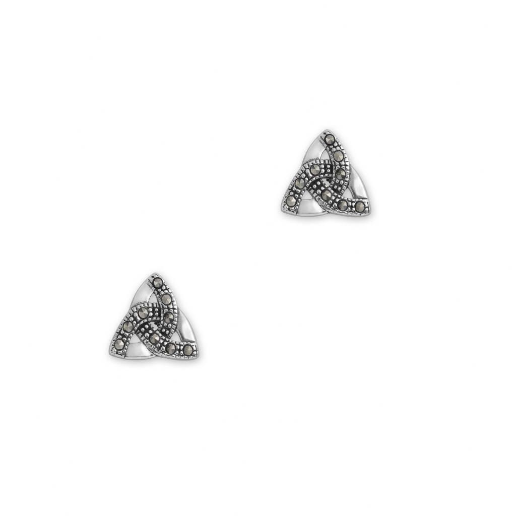 H & Y Earrings: Celtic Trinity Silver/Marcasite