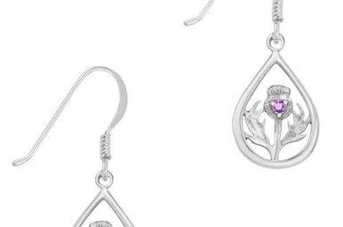 Earrings: Silver Thistle, Amethyst Stone
