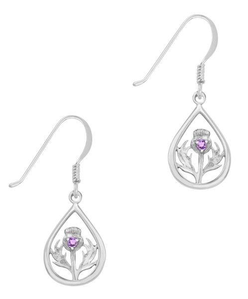 H & Y Earrings: Silver Thistle, Amethyst Stone