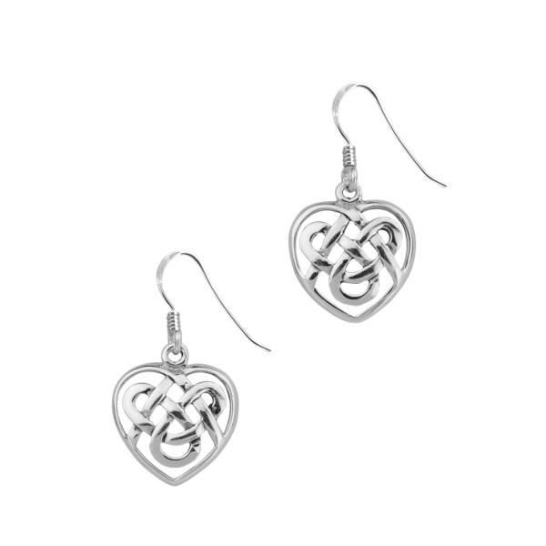 H & Y Earrings: Silver Celtic Heart