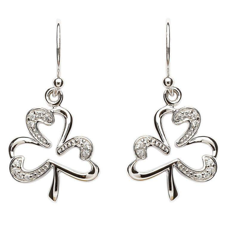 Shanore Earring: SS Pave Set Shamrock