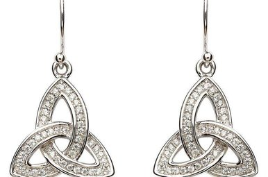 Earring: SS Pave Set Trinity