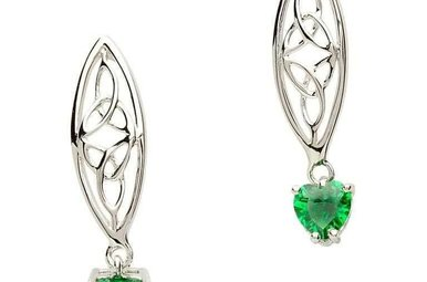 Earrings: Sil Trinity Green Heart