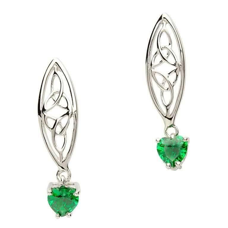 Shanore Earrings: Sil Trinity Green Heart
