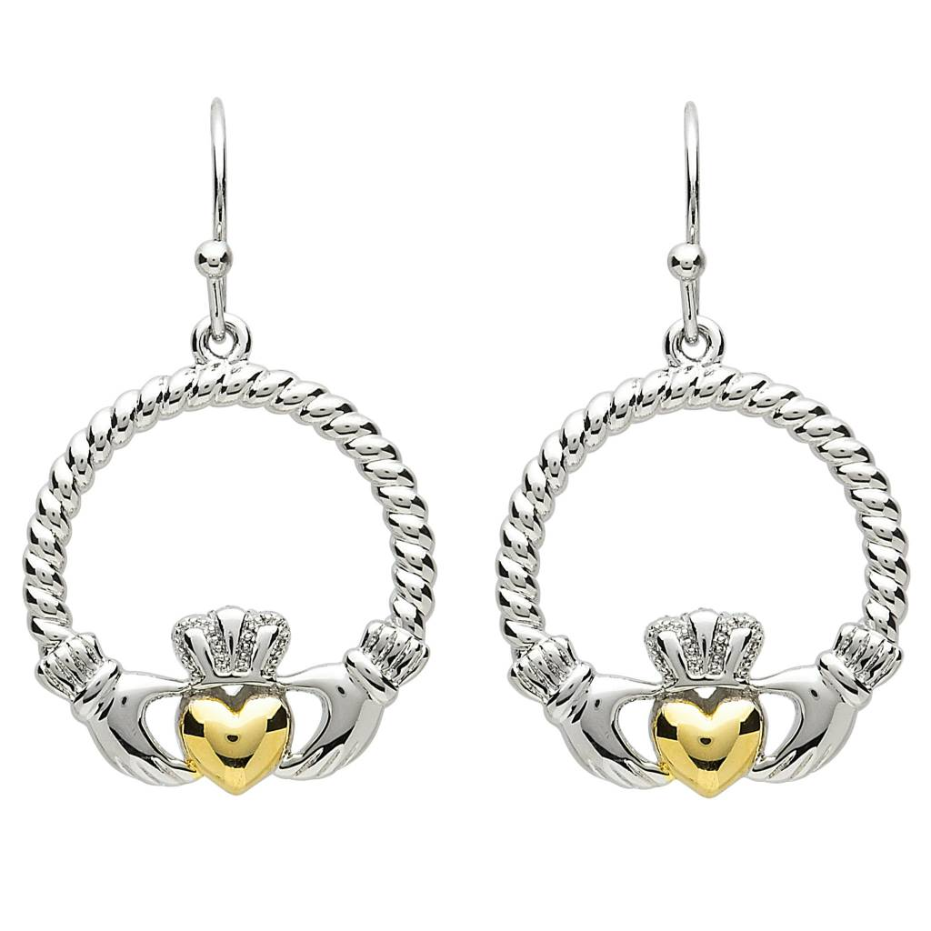 Earrings: Platinum Claddagh