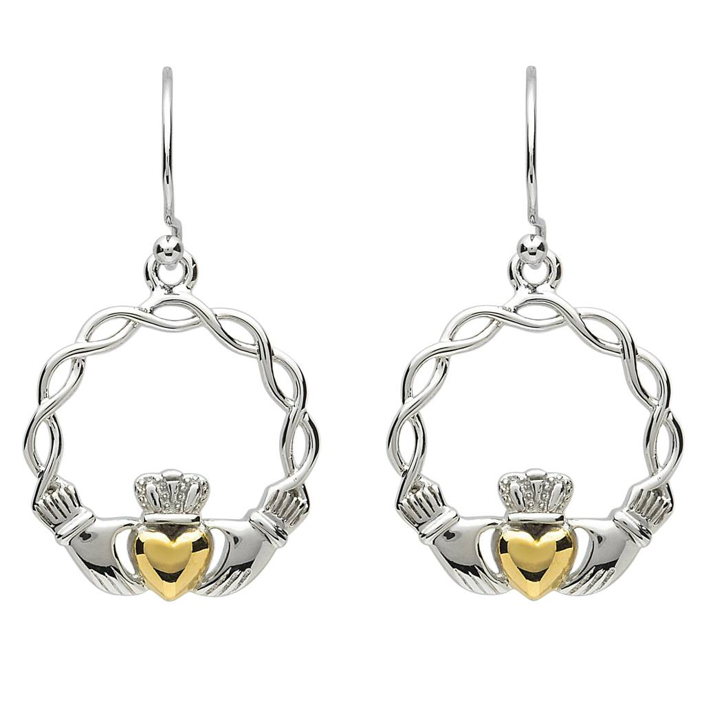 Shanore Earrings: Platinum Claddagh